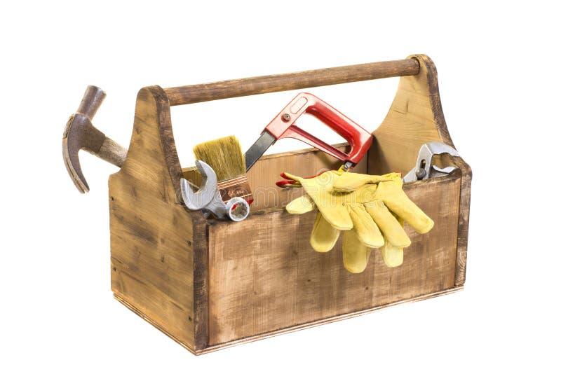 Aislado en caja de herramientas de madera del vintage blanco imagenes de archivo