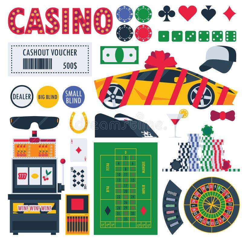 Aislado en el equipo blanco del casino como ruleta de juego, la tabla del pocker, premios como coche y dinero Objetos de los jueg ilustración del vector