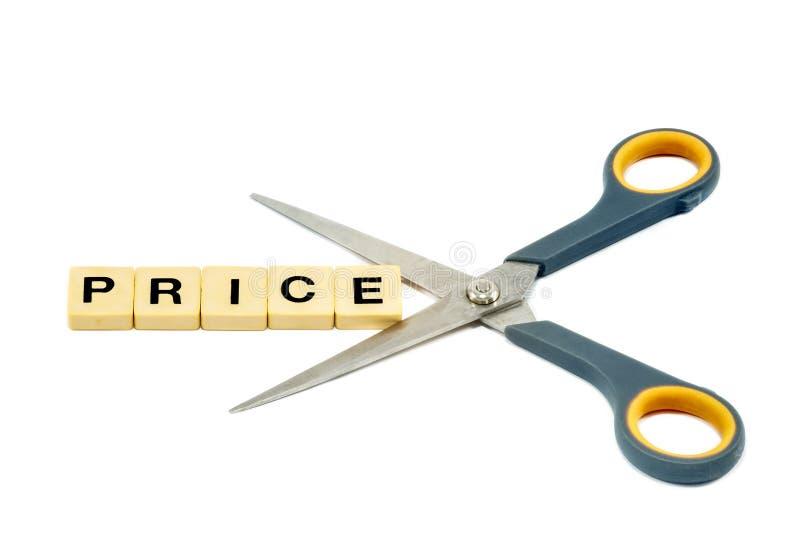 Aislado en el indirim turco del precio blanco de la palabra que es cortado por tijeras foto de archivo libre de regalías