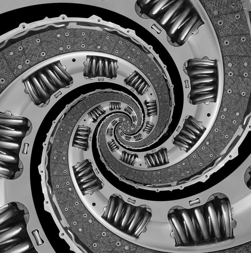 Aislado en fondo compuesto abstracto negro del modelo del fractal del espiral del disco de embrague del coche del camión Espiral  imagen de archivo libre de regalías