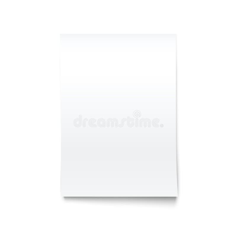 Aislado en la maqueta de papel de la oficina en blanco blanca. ilustración del vector