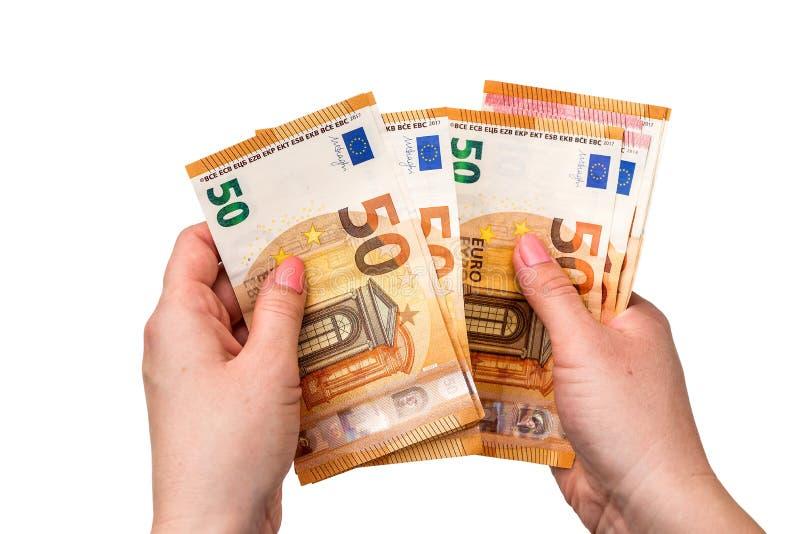 Aislado 50 euros de billetes de banco foto de archivo libre de regalías