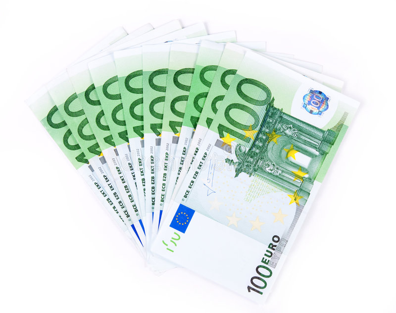 Aislado mil euros 2 fotos de archivo libres de regalías