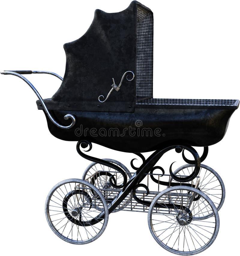 Aislador de bebé antiguo, carro, aislado imágenes de archivo libres de regalías