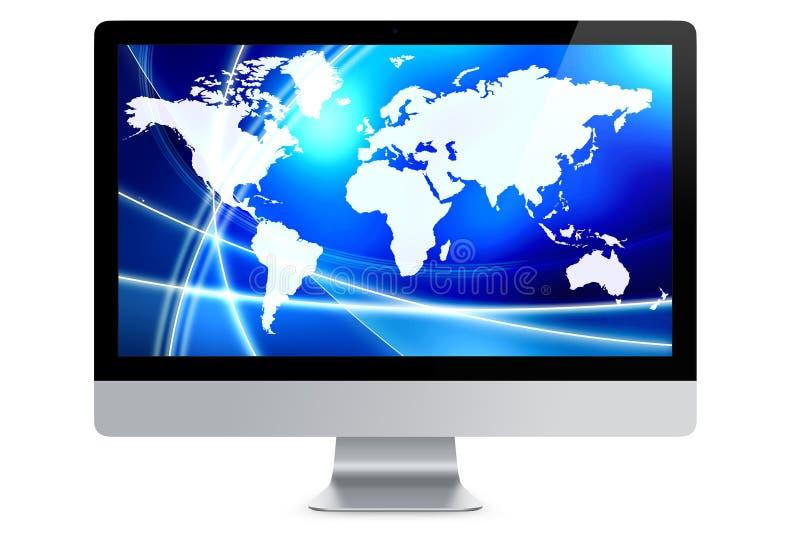 Aislador del fondo del extracto del mapa del mundo de la pantalla de ordenador ilustración del vector