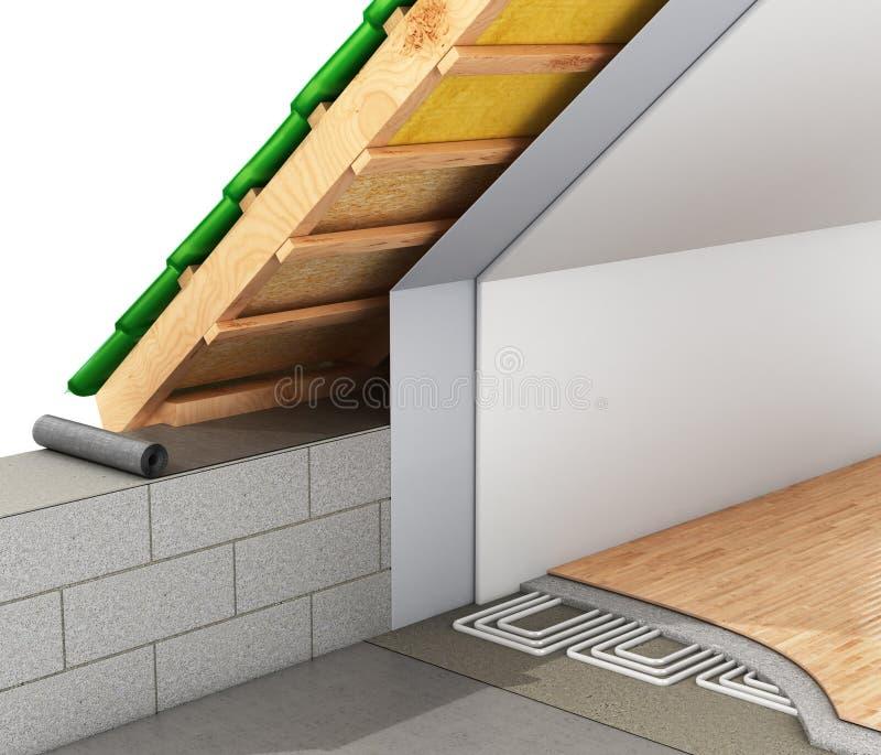 Aislamiento de calor de los tejados de la casa y de la instalación de un piso caliente 3d libre illustration