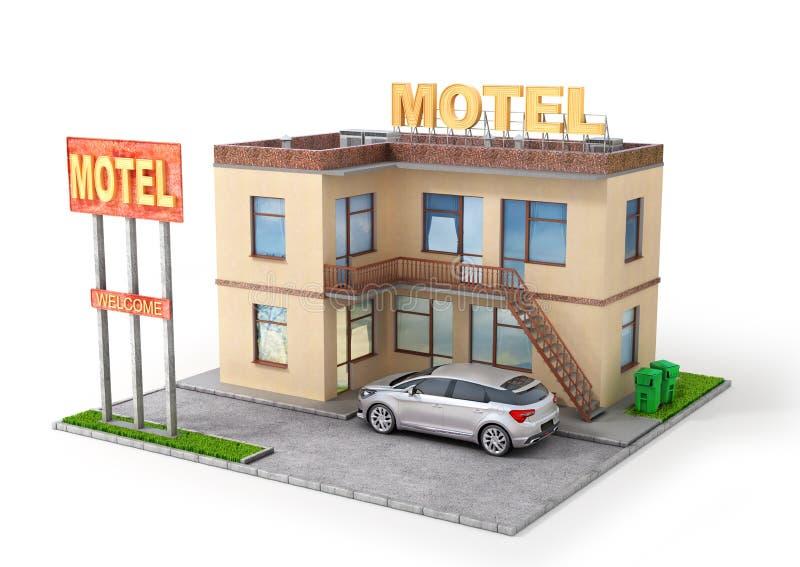 Aislamiento del motel en un blanco ilustración 3D stock de ilustración