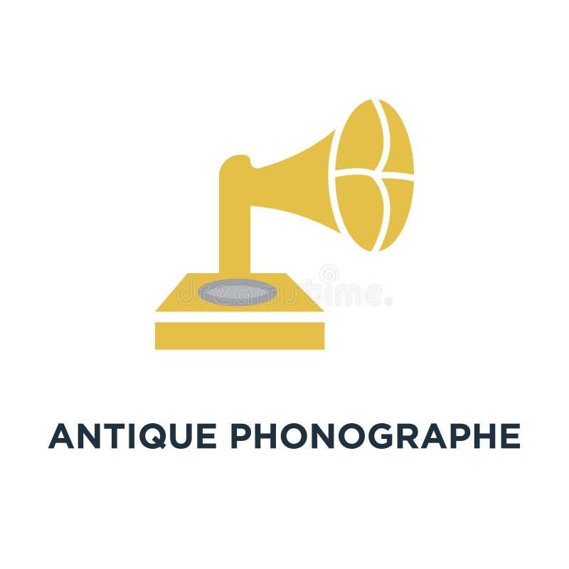 aislante antiguo del gramófono del vintage del phonographe en el icono blanco Re libre illustration