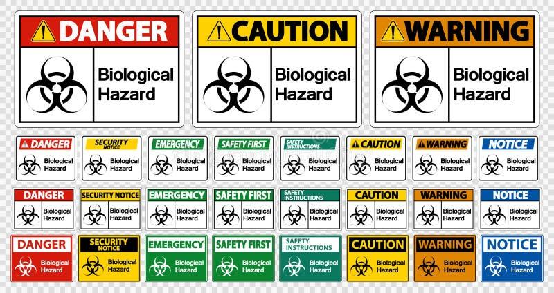 Aislante biológico fijado de la muestra del símbolo del peligro en el fondo blanco, ejemplo del vector libre illustration
