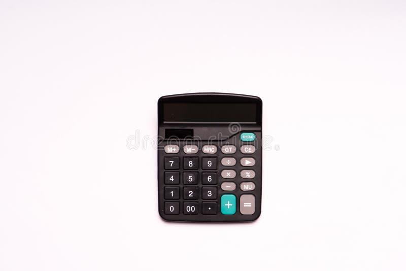 Aislante de la calculadora negra para el hombre de las finanzas y de los busineess imagenes de archivo