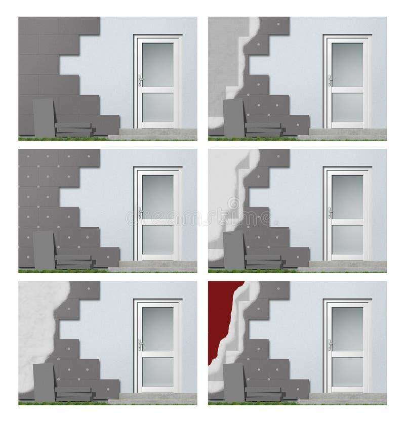 Aislante de la fachada paso a paso stock de ilustración