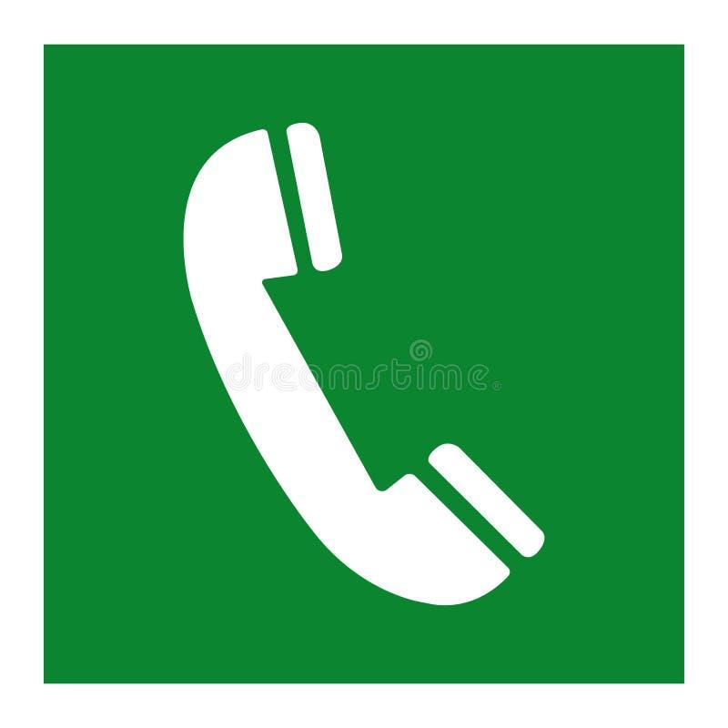 Aislante de la muestra del símbolo del verde del teléfono de emergencia en el fondo blanco, ejemplo EPS del vector 10 ilustración del vector