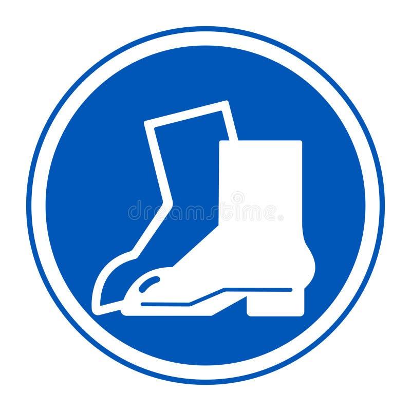 Aislante de la muestra de la protección del pie del desgaste del símbolo en el fondo blanco, ejemplo EPS del vector 10 ilustración del vector