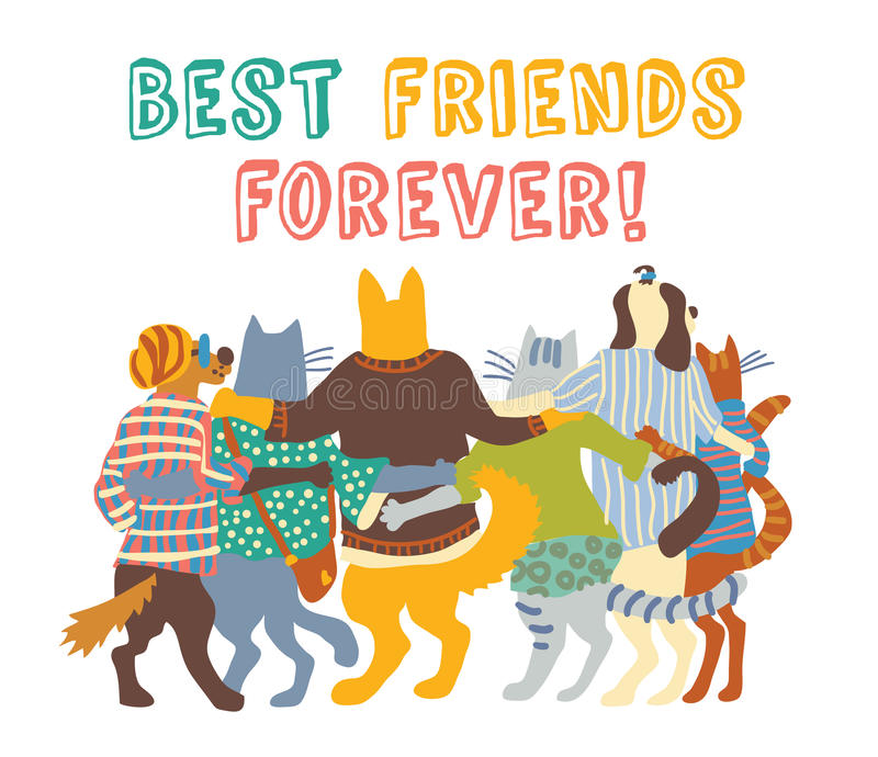 Aislante de los abrazos de los amigos del grupo de los animales domésticos de los gatos y de los perros stock de ilustración