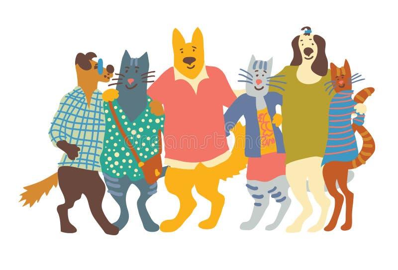 Aislante de los abrazos de los amigos del grupo de los animales domésticos de los gatos y de los perros en blanco libre illustration