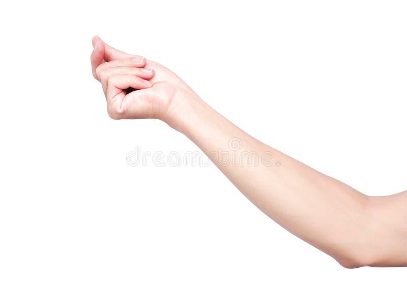 Aislante de rotura de los fingeres de la mano en el fondo blanco con el recortes fotografía de archivo libre de regalías