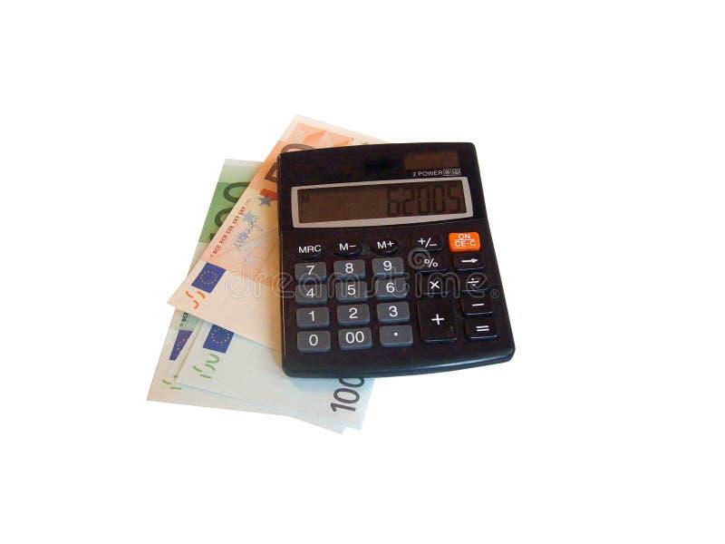 Aislante del dinero y de la calculadora imagen de archivo