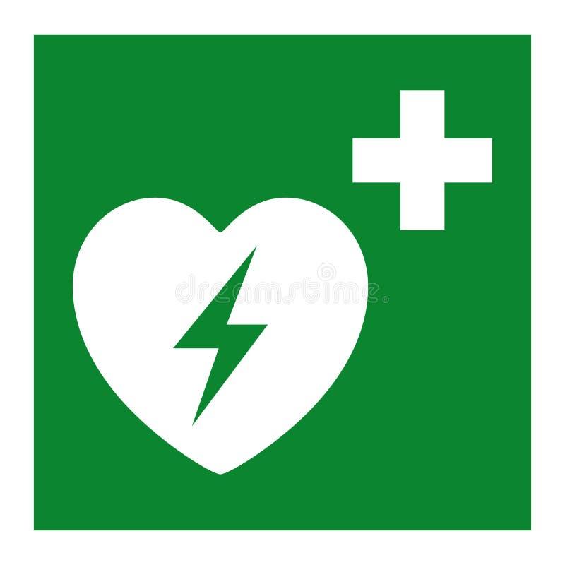Aislante externo automatizado del símbolo del corazón del Defibrillator en el fondo blanco, ejemplo EPS del vector 10 ilustración del vector