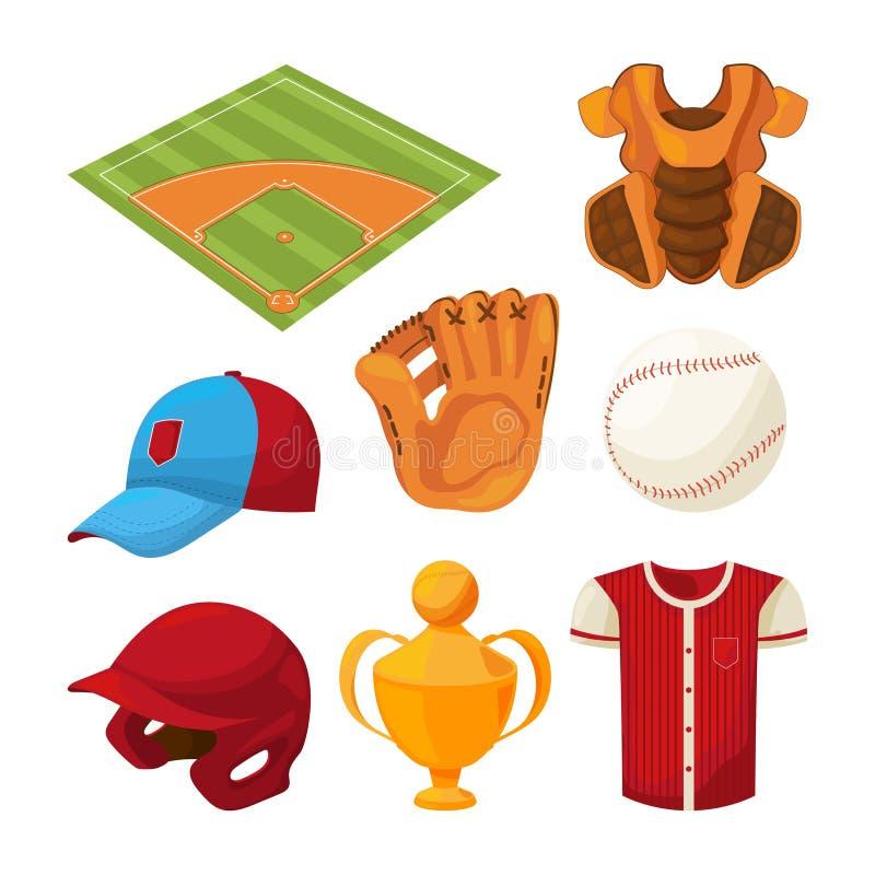 Aislante fijado iconos de la historieta del béisbol en blanco stock de ilustración