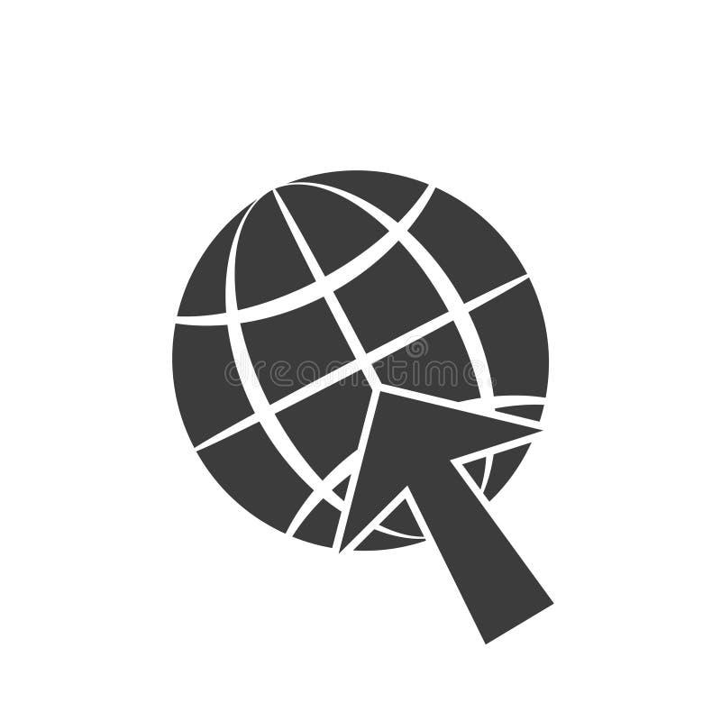 Aislante gris del ejemplo del símbolo, del globo y de la flecha del cursor del icono en un fondo blanco stock de ilustración