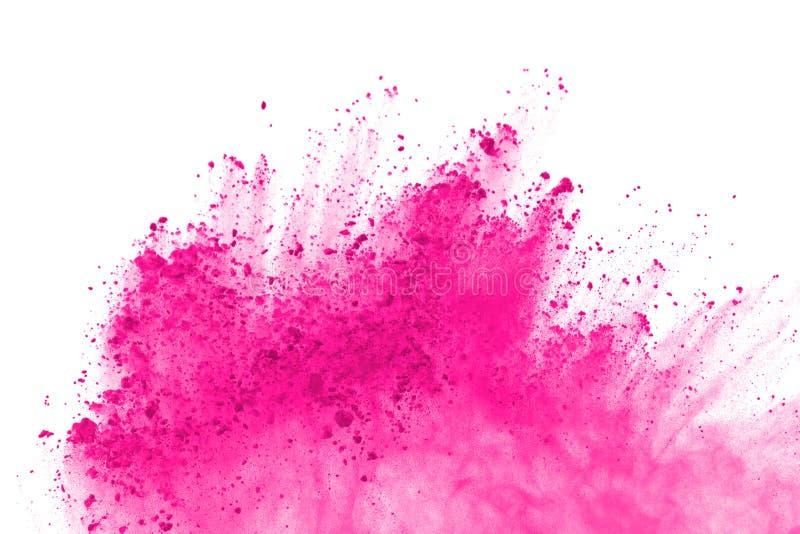 Aislante rosado de la explosión del polvo en el fondo blanco Pinte Holi imagen de archivo