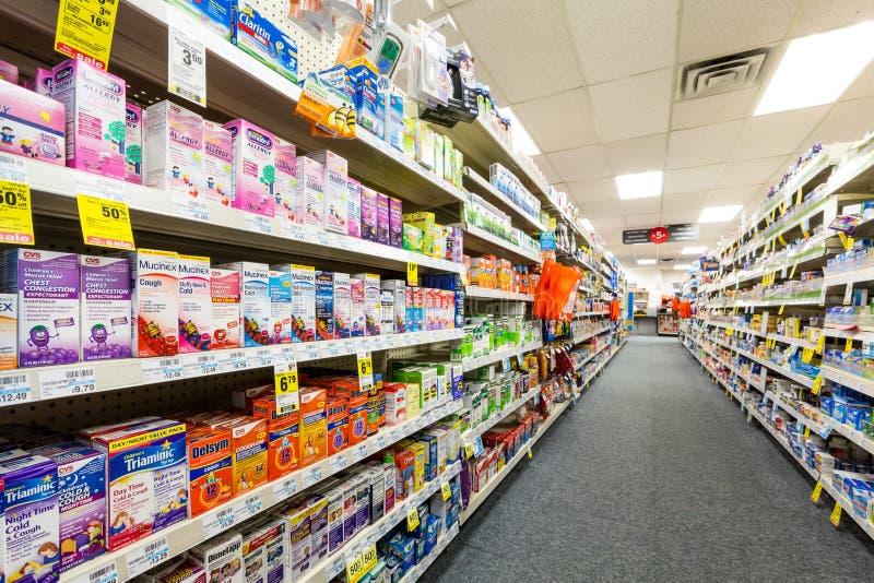 Aisle in a CVS pharmacy stock photos