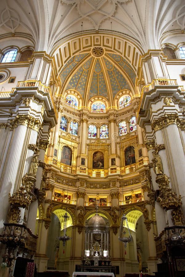 Interior of the cathedral of Granada 02 royalty free stock photos