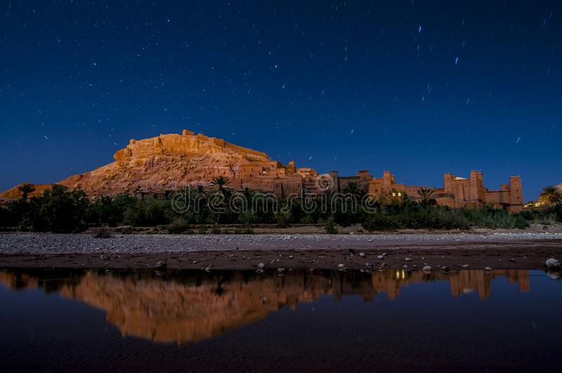 Ait Ben Haddou at night in Morocco desert royalty free stock photo