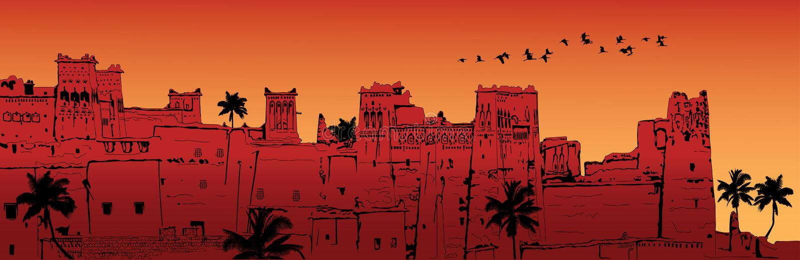 Ait-Benhaddou in Morocco vector illustration