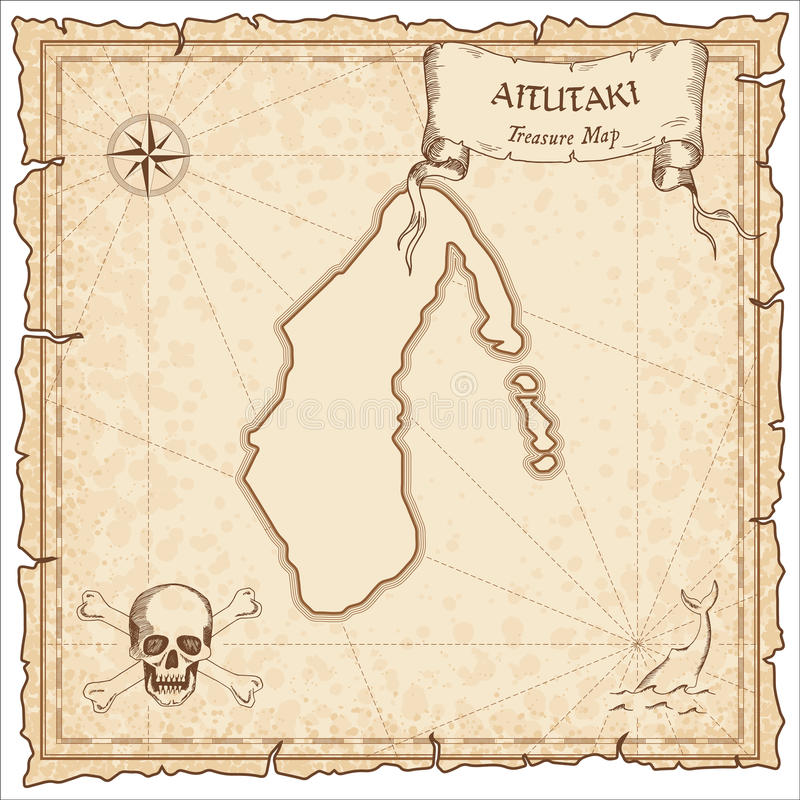 Aitutaki old pirate map. Sepia engraved parchment template of treasure island. Stylized manuscript on vintage paper vector illustration