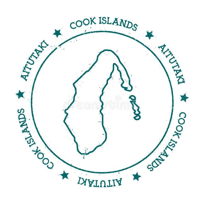 Aitutaki wektorowa mapa ilustracja wektor