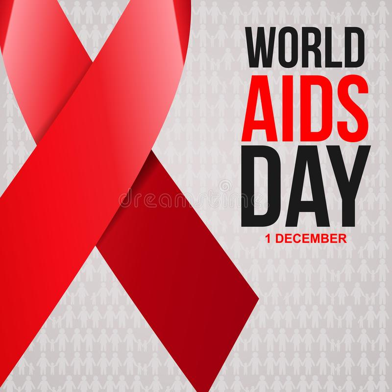 Aiuta il nastro di colore rosso di consapevolezza Concetto di Giornata mondiale contro l'AIDS illustrazione di stock