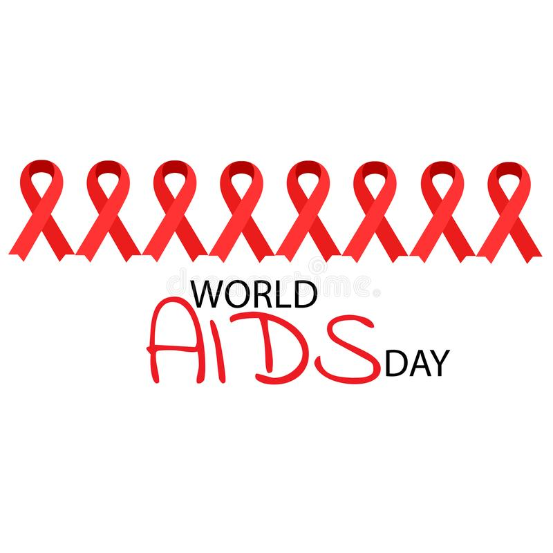Aiuta il nastro di colore rosso di consapevolezza Concetto di Giornata mondiale contro l'AIDS Illustrazione royalty illustrazione gratis