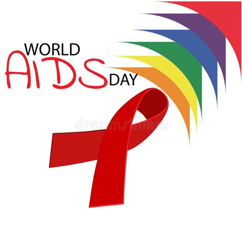 Aiuta il nastro di colore rosso di consapevolezza Concetto di Giornata mondiale contro l'AIDS Illustrazione illustrazione vettoriale