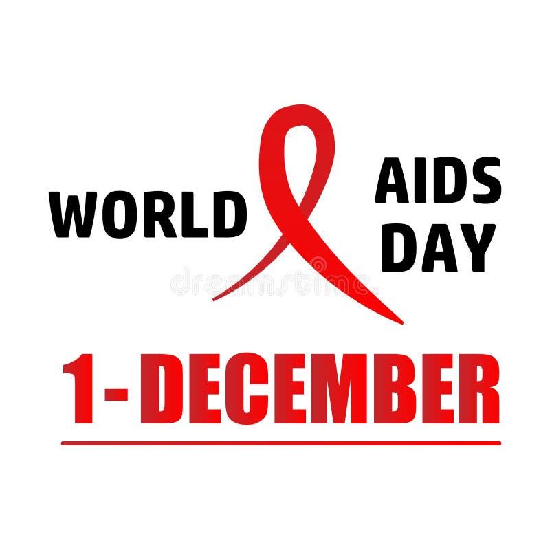 Aiuta il nastro di colore rosso di consapevolezza Concetto di Giornata mondiale contro l'AIDS Illustrazione di vettore illustrazione vettoriale