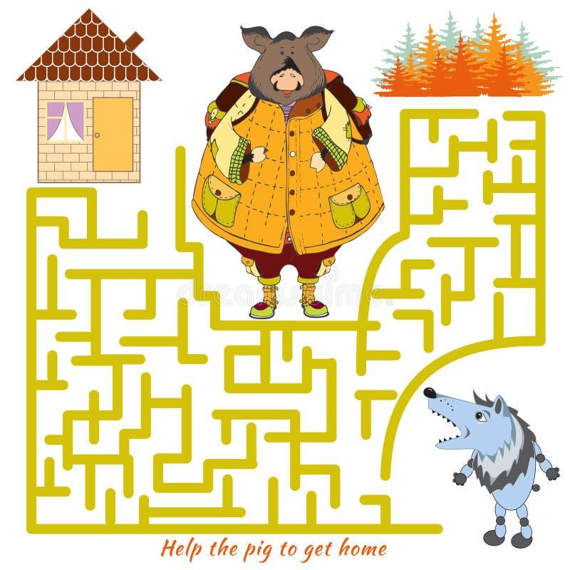 Aiuti il maiale ad arrivar a casae e dal labirinto Rebus di vettore illustrazione vettoriale