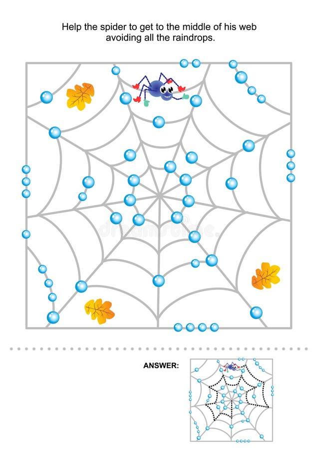 Aiuti il ragno ad ottenere al suo posto, labirinto per i bambini illustrazione di stock