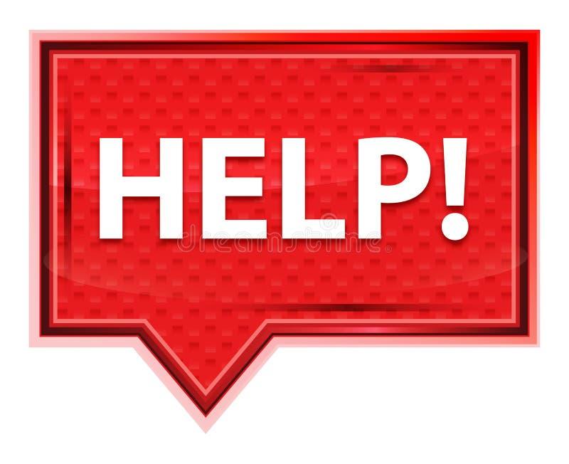 Aiuto! bottone rosa rosa nebbioso dell'insegna royalty illustrazione gratis