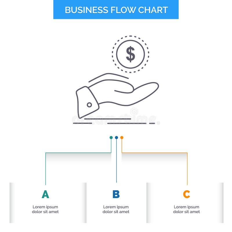 aiuto, contanti fuori, debito, finanza, progettazione del diagramma di flusso di affari di prestito con 3 punti Linea icona per i illustrazione vettoriale