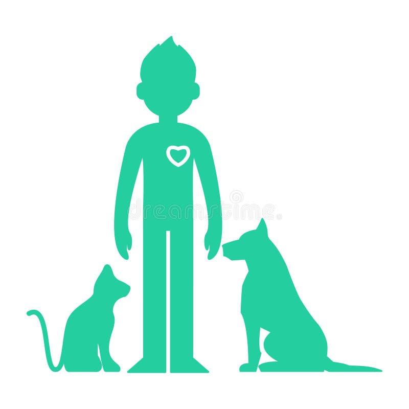 Aiuto degli animali Uomo illustrazione vettoriale