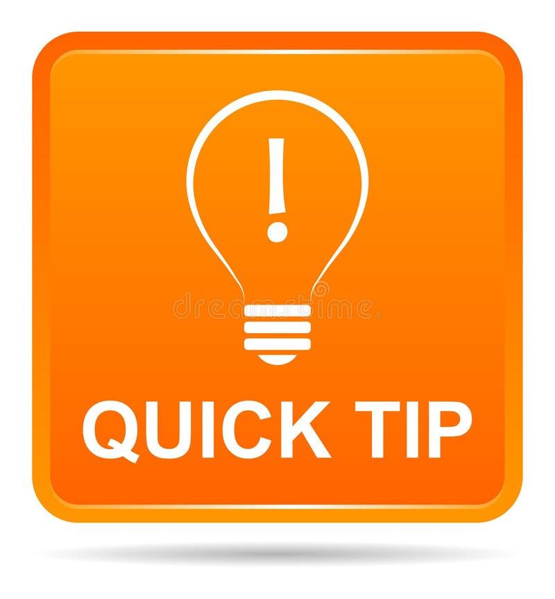 Aiuto del pulsante di punta rapida e concetto arancio di suggerimento illustrazione di stock