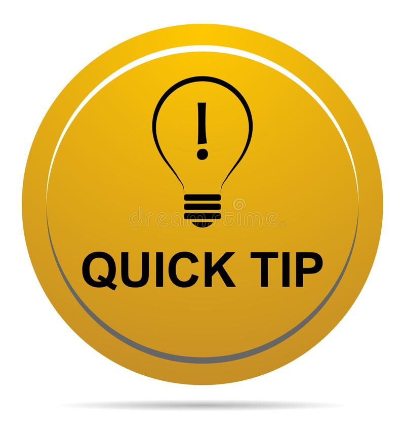 Aiuto del pulsante di punta rapida e concetto gialli dorati di suggerimento illustrazione di stock