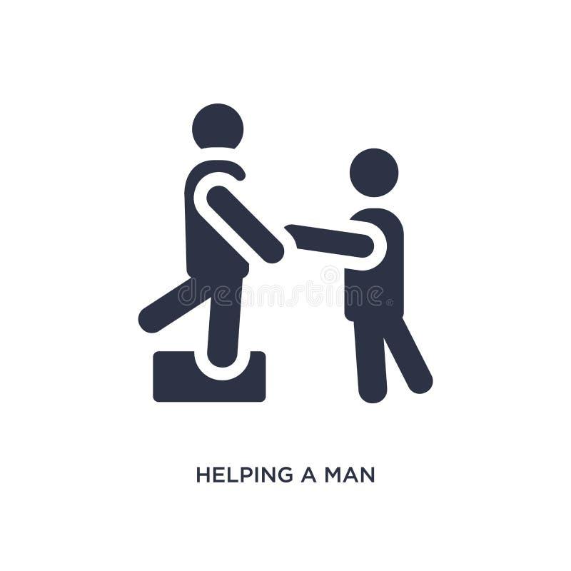 aiuto dell'uomo scalare icona su fondo bianco Illustrazione semplice dell'elemento dal concetto di comportamento illustrazione di stock