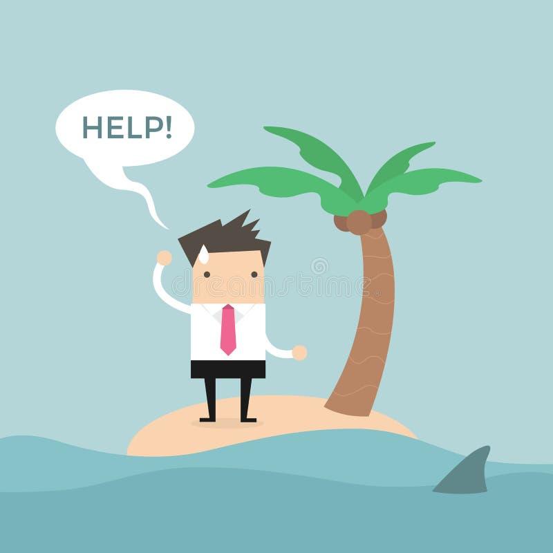 Aiuto di bisogno dell'uomo d'affari sulla piccola isola royalty illustrazione gratis