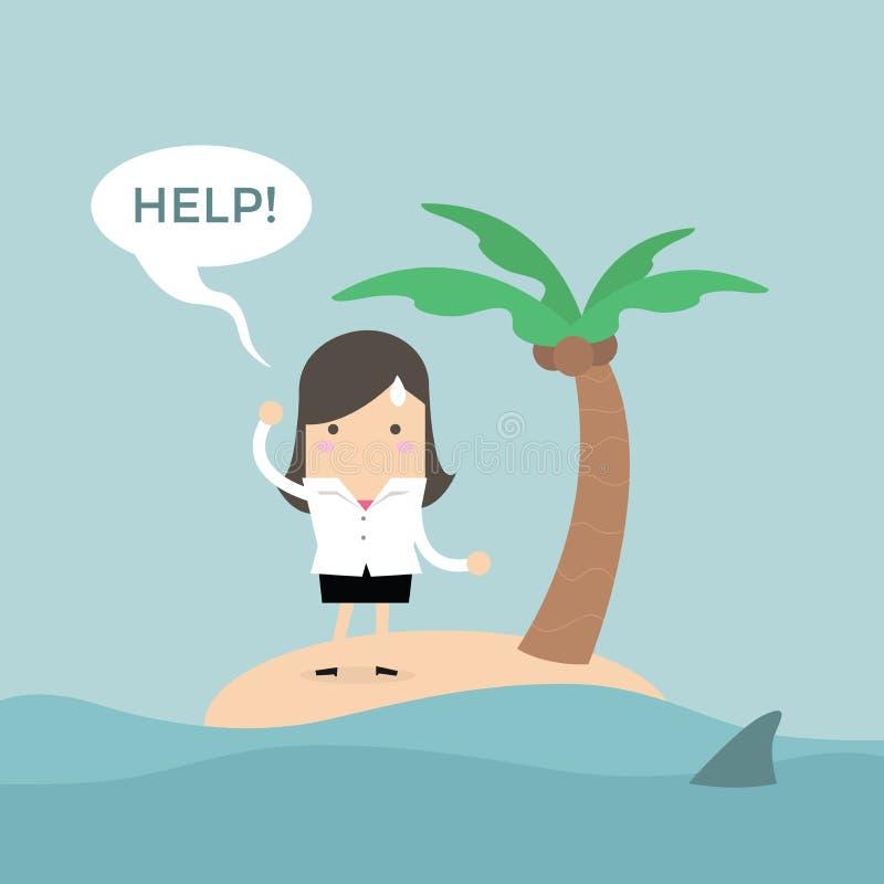 Aiuto di bisogno della donna di affari sulla piccola isola illustrazione vettoriale
