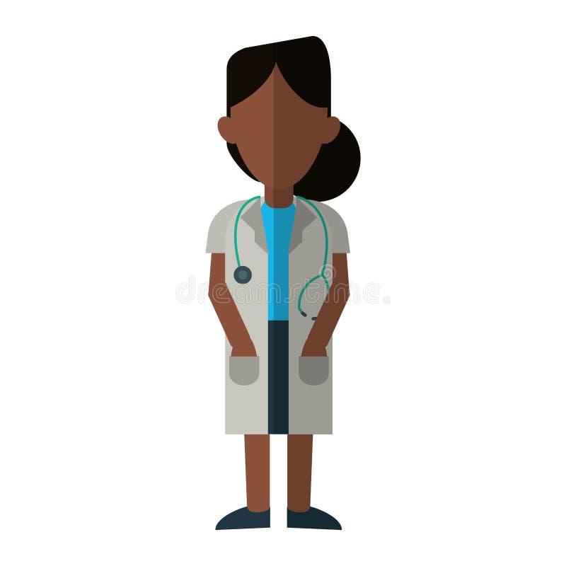 Aiuto di scienza della medicina di afro della donna di medico illustrazione di stock