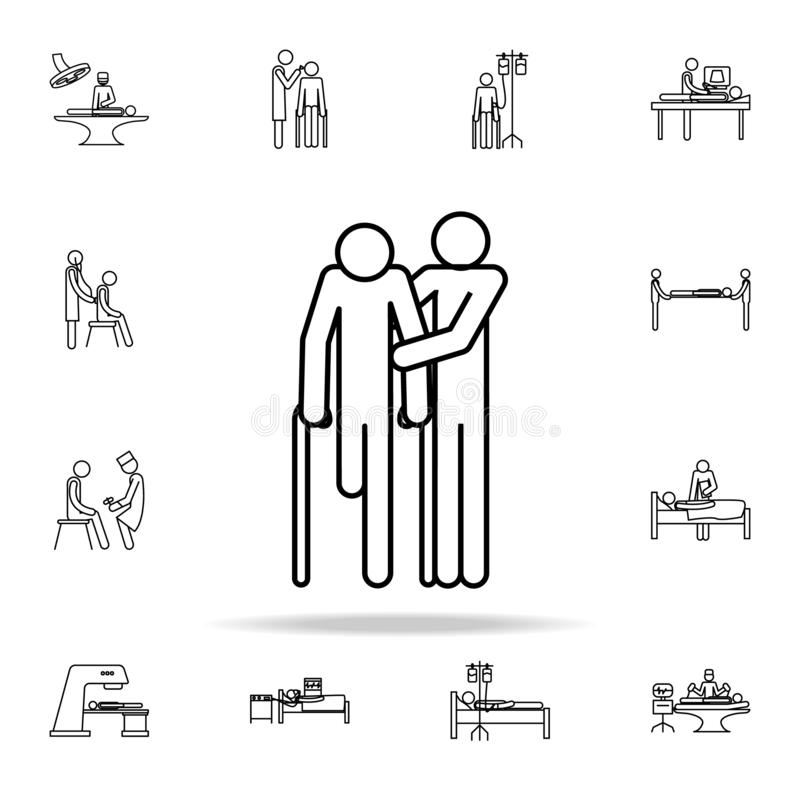 aiuto per l'icona disabile Insieme universale delle icone della medicina per il web ed il cellulare illustrazione vettoriale