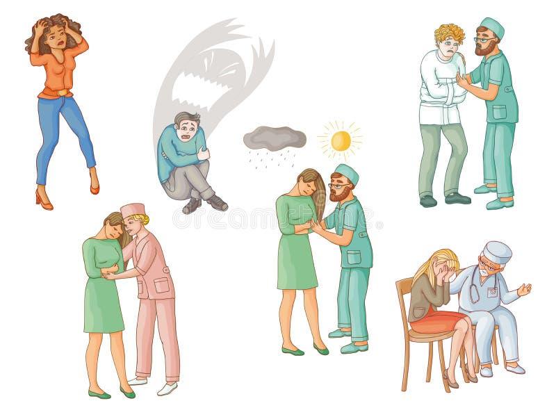 Aiuto psichiatrico per la gente con i disturbi mentali illustrazione vettoriale