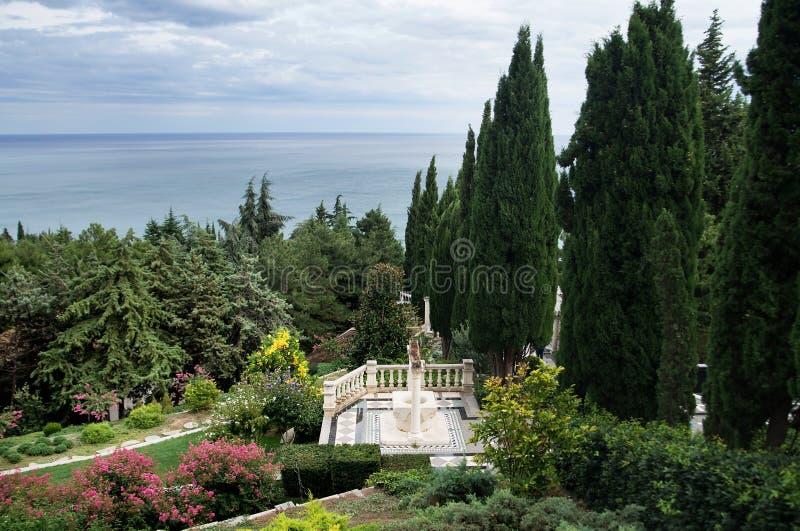 Aivazovsky公园在Partenit在克里米亚 庭院 免版税库存照片