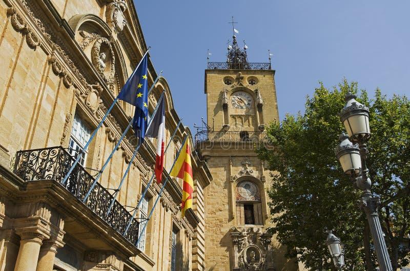 aix法国大厅城镇 免版税库存照片